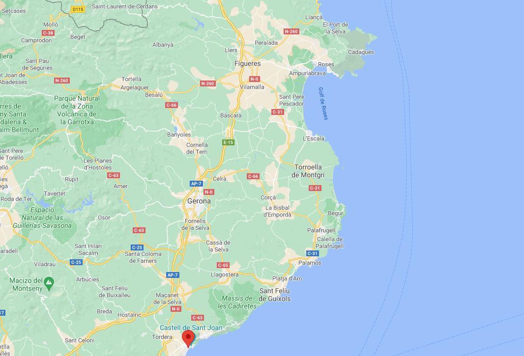Costa Brava. Mapa de la zona.